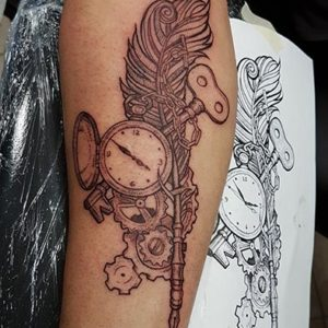Steampunk Quill/Clock Tattoo by Andy Christ