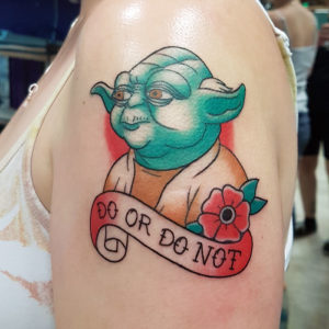 Traditional Yoda Tattoo by Smash