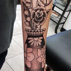 Custom Traditional Flower Vase Tattoo by Smash