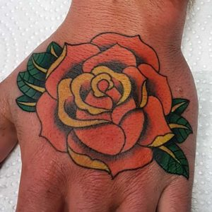 Orange Neotraditional Rose Tattoo by Smash