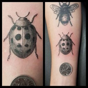 Vintage Ladybug Illustration Tattoo by Smash