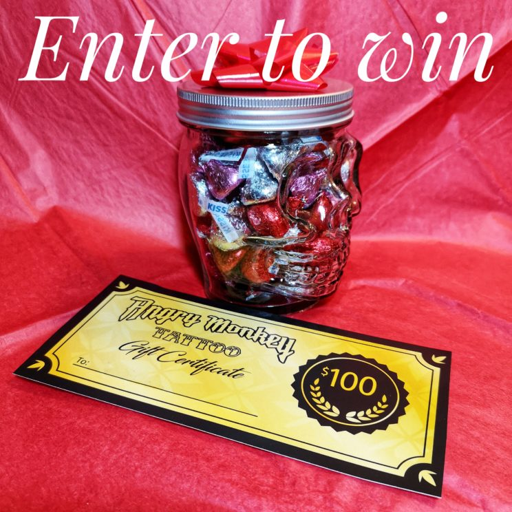 Picture of skull jar full of hershey kisses and one hundred dollar gift certificate