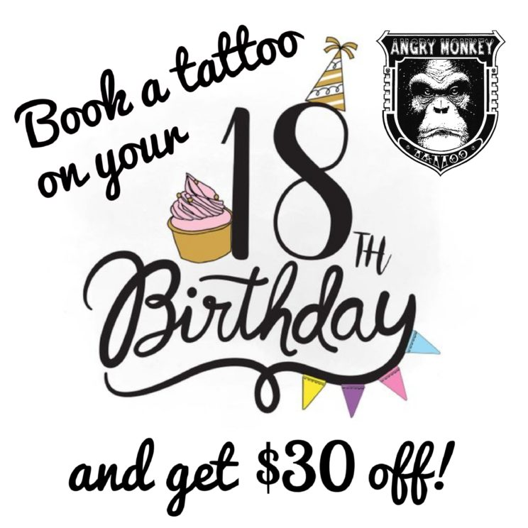 ANgry Monkey Tattoo 18th Birthday Discount