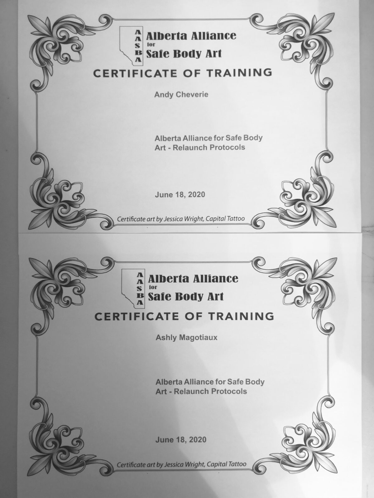 Alberta Alliance for Safe Body Art Certificate of training for both artists at Angry Monkey.