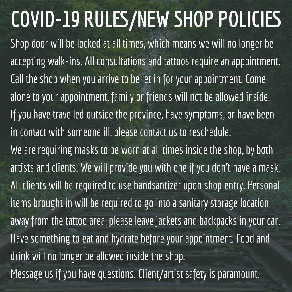 New shop policies for safety against Covid-19.