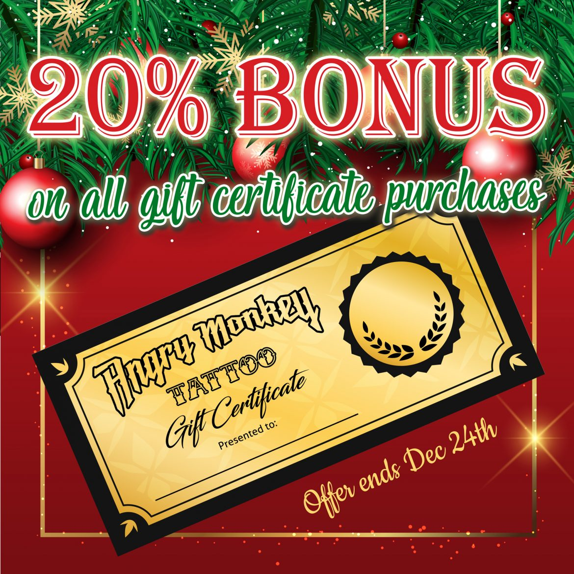20% Bonus on all Gift Certificate Purchases