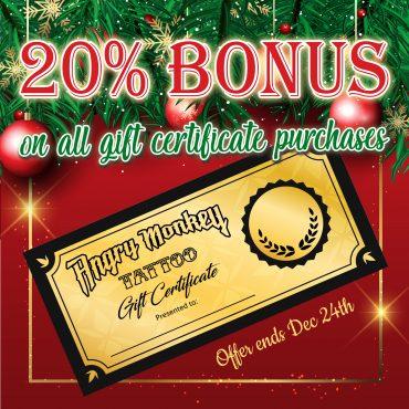 20% Bonus on all Gift Certificate Purchases