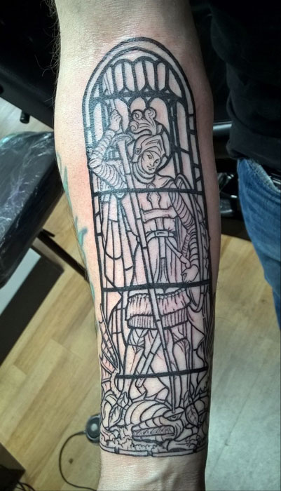 St George Stained Glass Tattoo By Andy Angry Monkey Tattoo