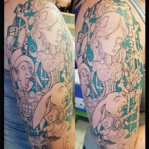 Steampunk Alice in Wonderland Half Sleeve by Andy Christ