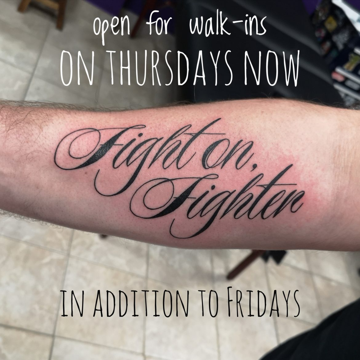 Walk-ins on Thursdays now too!